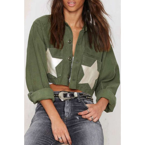 Stylish Turn Down Collar Long Sleeve Star Pattern Women's Coat - Army Green M
