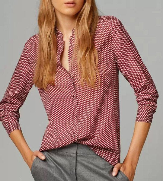 Stylish Stand-Up Collar Polka Dot Long Sleeve Shirt For Women - Red M