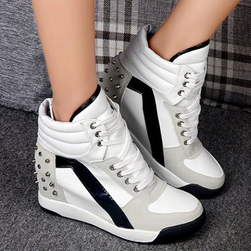 Fashionable Rivets and Splicing Design Women's Ankle Boots