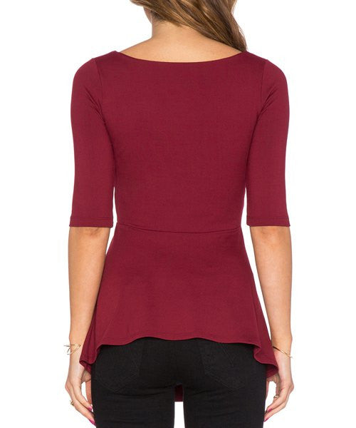 Stylish Solid Color Reversible Half Sleeve T-Shirt For Women