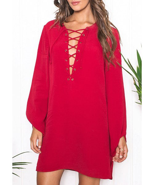 Sexy Scoop Neck Long Sleeve Pure Color Hollow Out Women's Dress