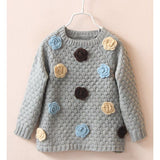 Sweet Long Sleeve Round Neck Flower Embellished Girl's Sweater
