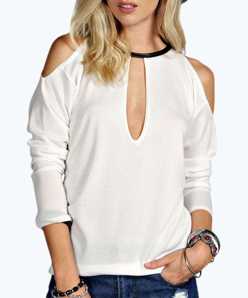 Sexy Keyhole Neck Long Sleeve Hollow Out Women's Knitwear
