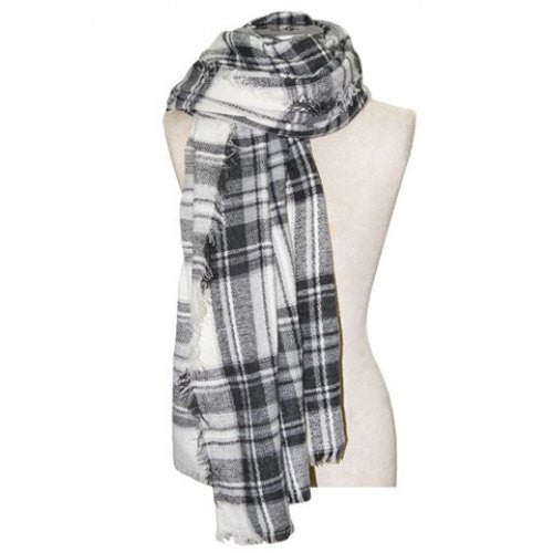 Chic Plaid Pattern Fringed Multifunctional Big Square Scarf For Women