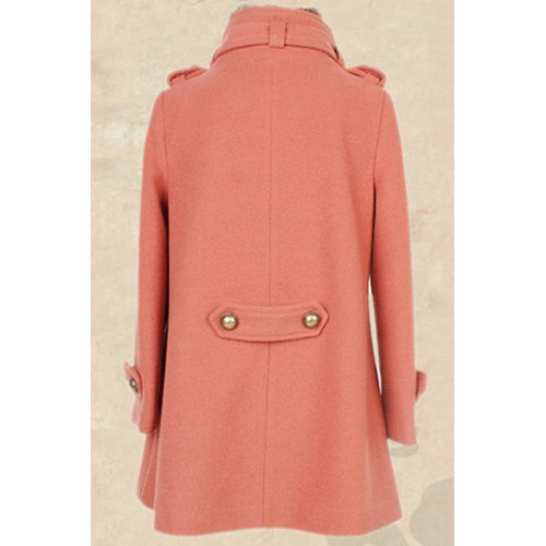 Stylish Turn-Down Collar Embellished Solid Color Long Sleeve Coat For Women