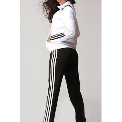 Active Stand-Up Collar Long Sleeve Striped Jacket + Mid-Waisted Pants Women's Twinset