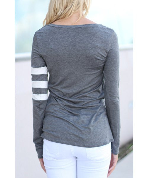 Charming Scoop Neck Color Block Striped Sleeve T-Shirt