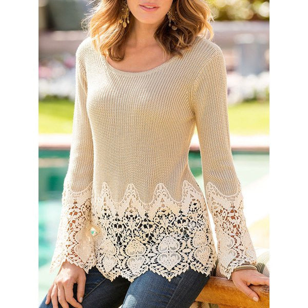 Chic Solid Color Lace Splicing Long Sleeve Scoop Neck Pullover Sweater