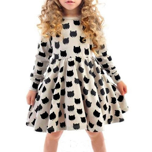 Stylish Round Neck Long Sleeve Cat Print Color Block Pleated Dress For Girl