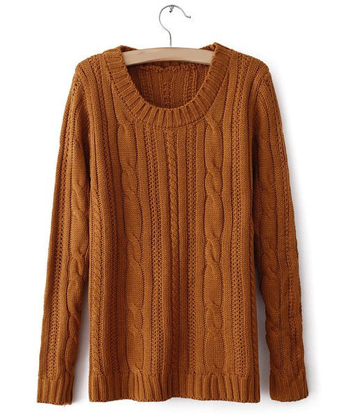 Chic Long Sleeve Jewel Neck Solid Color Pullover Sweater