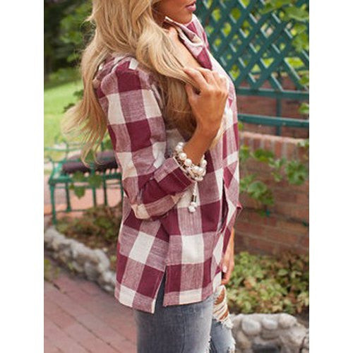 Stylish Hooded Long Sleeve Gingham Slit Women's Hoodie