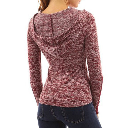 Fashionable Hollow Out Skinny Long Sleeve Hoodie For Women