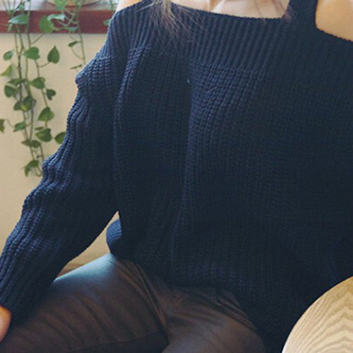 Casual Scoop Neck Hollow Out Long Sleeve Sweater For Women