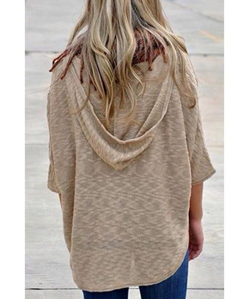 Stylish Hooded 3/4 Sleeve Asymmetrical Loose-Fitting Women's Hoodie
