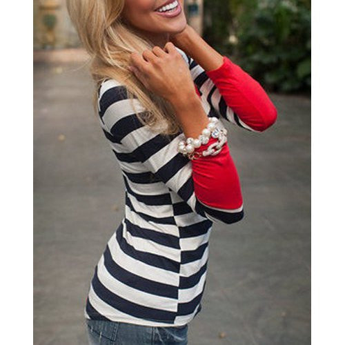Stylish Scoop Collar Long Sleeve Striped Asymmetrical Women's T-Shirt