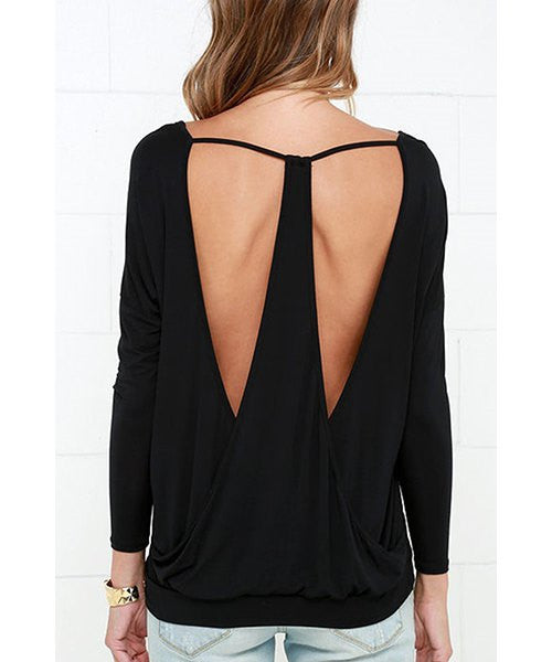 Stylish V-Neck Long Sleeve Black Backless Cut Out Women's T-Shirt