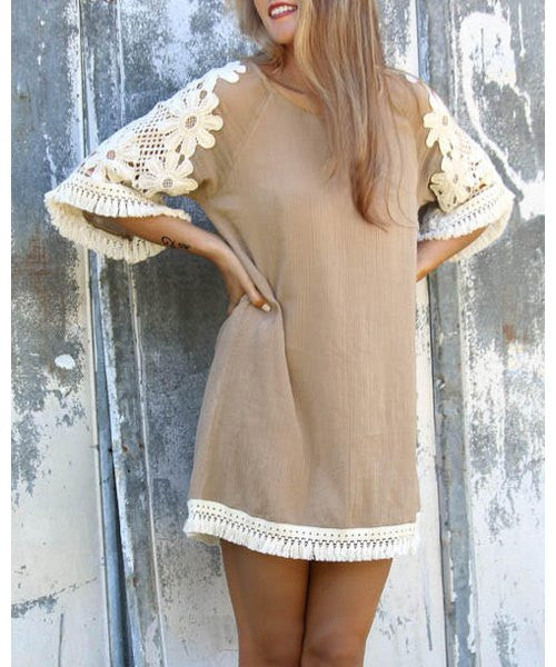 Stylish Scoop Neck 3/4 Sleeve Tassels Lace Splicing Women's Dress