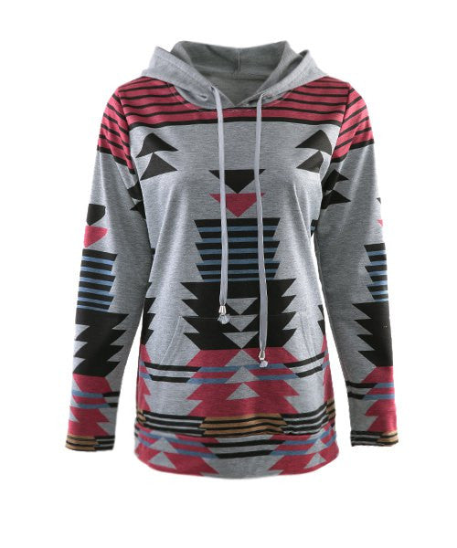 Casual Geometric Pattern Long Sleeves Hoodie For Women