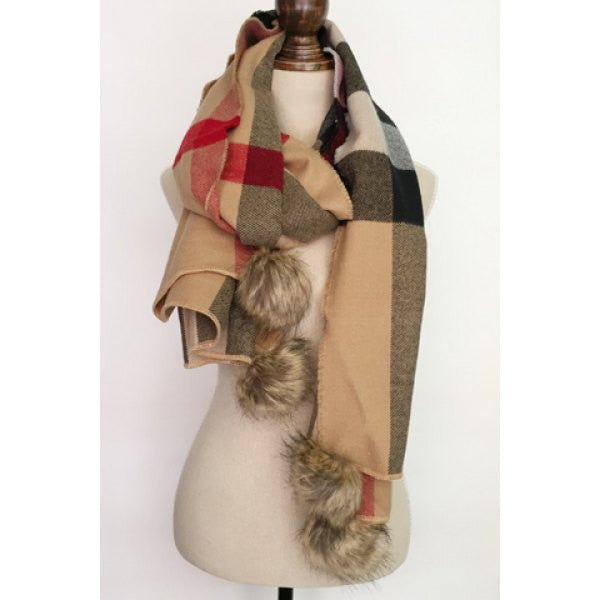 Chic Faux Fur Pendant Embellished Plaid Pattern Winter Scarf For Women
