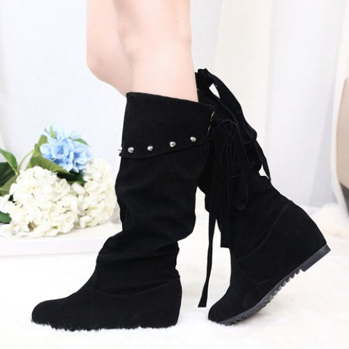 Stylish Rivet and Suede Design Women's Mid-Calf Boots