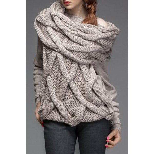 Endearing Solid Color Twist Wave Slash Collar Faux Scarf Pullover Sweater For Women