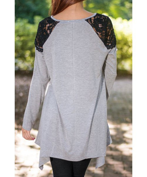Fashionable Round Neck Long Sleeve Lace Splicing Loose-Fitting Women's T-Shirt