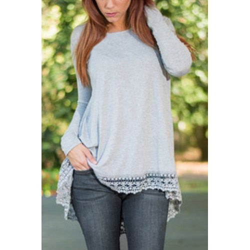 Fashionable Scoop Neck Long Sleeve Laciness Loose-Fitting Women's T-Shirt