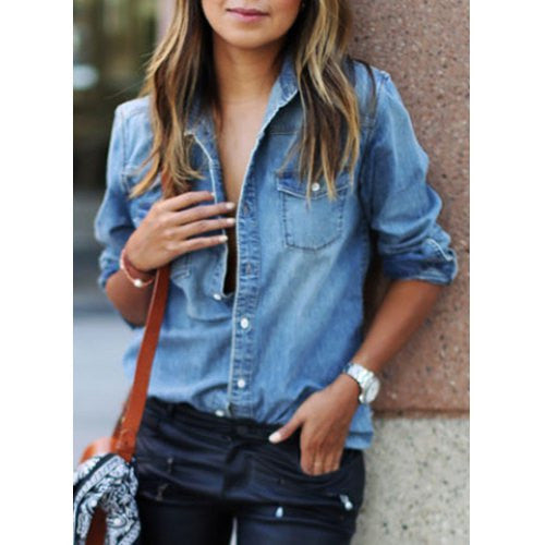Stylish Shirt Collar Long Sleeve Pocket Design Denim Shirt For Women