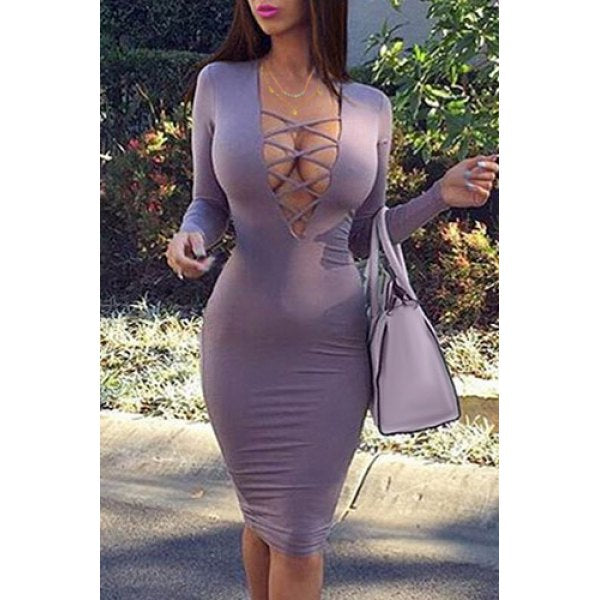 Sexy Plunging Neck Long Sleeve Purple Low-Cut Lace-Up Women's Bodycon Dress
