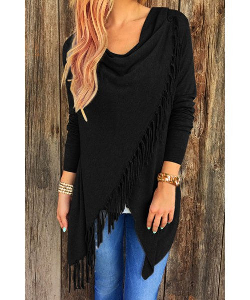 Charming Solid Color Tassel Hem Asymmetric Loose T-Shirt For Women