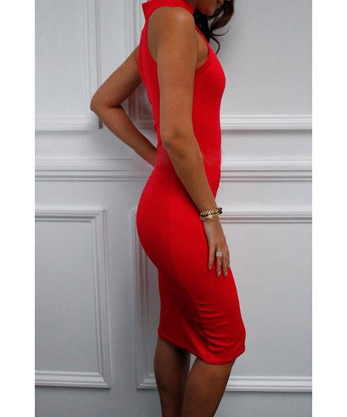 Noble Stand Collar Sleeveless Red Bodycon Women's Dress