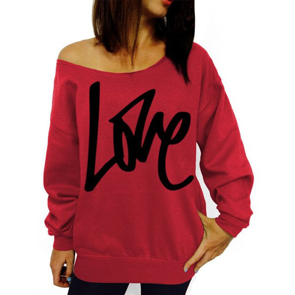 Stylish Scoop Collar Long Sleeve LOVE Letter Pattern Women's Sweatshirt