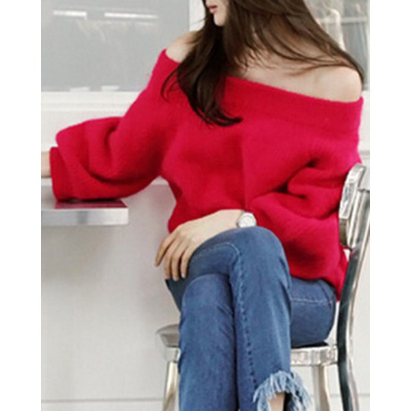 Stylish Off-The-Shoulder Long Sleeve Solid Color Loose Women's Sweater