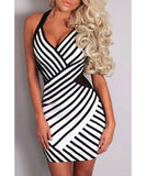 Sexy Halter Sleeveless Striped Bodycon Women's Dress