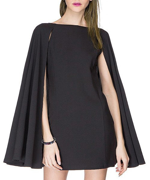 Stylish Boat Neck Black A-Line Women's Mini Dress
