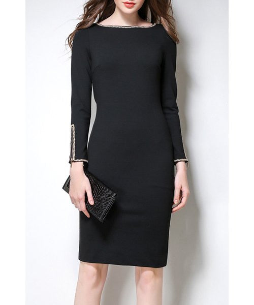 Elegant Boat Neck Long Sleeve Bodycon Fleeced Midi Dress For Women