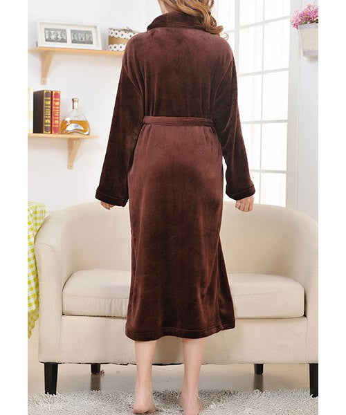 Charming Solid Color Shawl Collar Belted Thick Coral Fleece Bathing Coat For Women