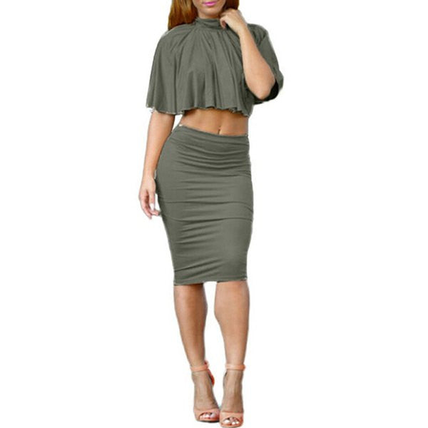 Stunning Stand Collar Solid Color Criss-Cross Backless Crop Top + Bodycon Skirt Women's Twinset