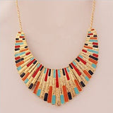 Characteristic Stylish Multicolor Alloy Fan-Shaped Pendant Necklace