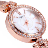 Yagexing Shell Dial Steel Tassels Female Quartz Watch with Diamond-shaped Mirror Stainless Steel Strap Water Resistance