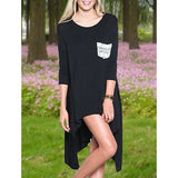 Stylish Scoop Neck Long Sleeve Asymmetrical Pocket Design Women's T-Shirt