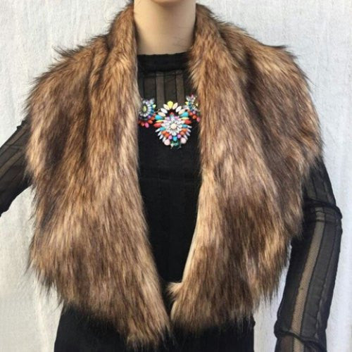 Stylish Faux Fox Fur Decorated Winter Scarf For Women