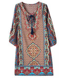 Ethnic V-Neck 3/4 Sleeve Printed Dress For Women
