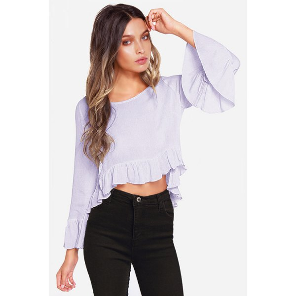 Stylish Round Collar Long Sleeve Ruffles Spliced Cropped Blouse For Women