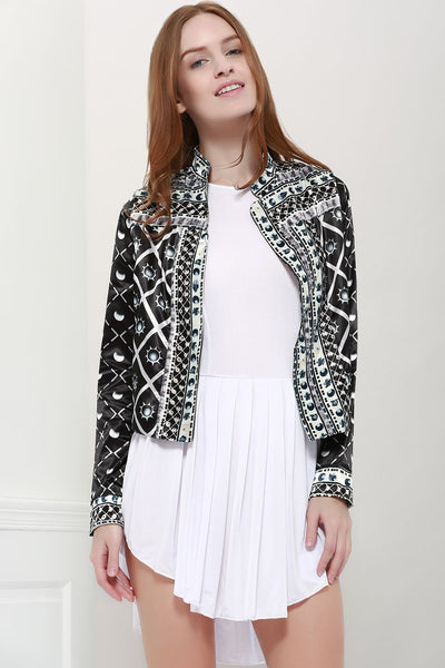 Fashionable Stand Collar Long Sleeves Printed Jacket For Women