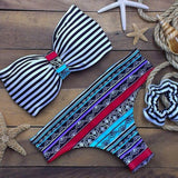 Sexy Halter Neck Striped Ethnic Print Women's Bikini Set