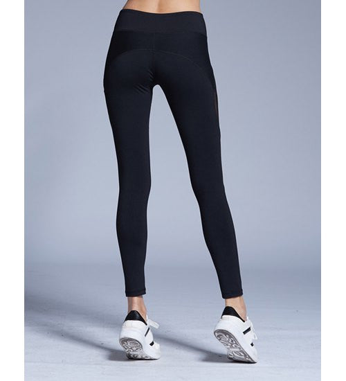 Stylish Elastic Waist Color Block Voile Spliced Yoga Pants For Women