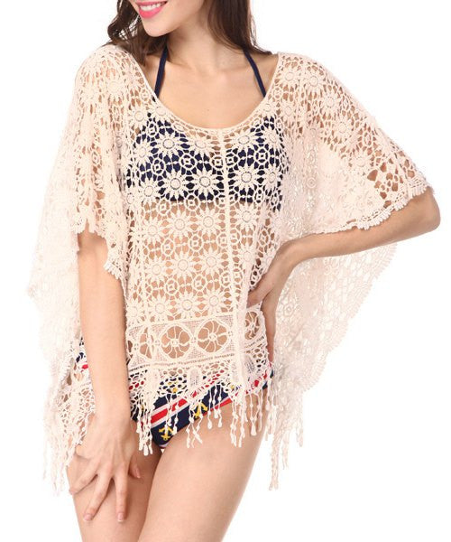 Sexy Scoop Neck Half Sleeve Hollow Out Flower Pattern Fringed Cover-Up For Women