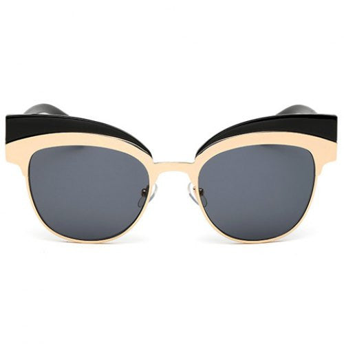 Chic Metal Splicing Black Frame Sunglasses For Women