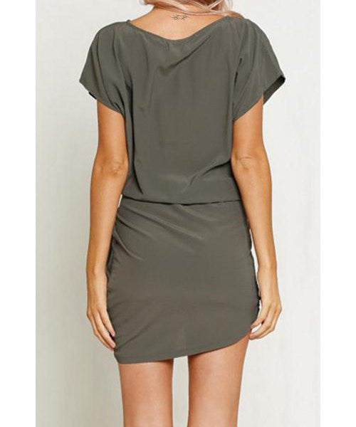 Sexy Scoop Neck Short Sleeve Asymmetrical Women's Dress